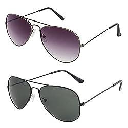 Rhodopsin UV Protected Grey Gradient Aviator and Black Aviator Sunglasses (Combo_Grey_Gradient_Black_Aviator)