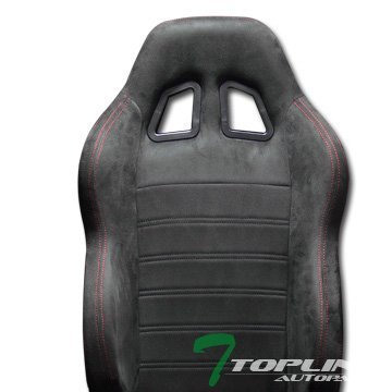 Topline Autopart 1X Sp Sport Style Black Suede Red Stitch Reclinable Racing Bucket Seat Slider T01 (Camaro Ss Racing Seats compare prices)