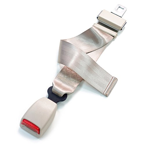 "Adjustable 11-26"" Car Seat Belt Extender - Beige - Type A (7/8"" wide metal tongue)"