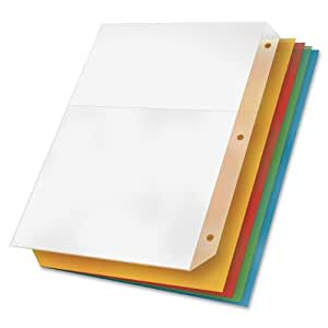 TOPS Cardinal Poly Ring Binder Pockets, No Tabs, Double Pocket, Multi-Color, 5 Folders Per Pack (84007)