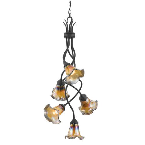 B000J1684M Quoizel BLDS5105IB Salamander Glass Studio Bellissimo 5-Light Chandelier, Imperial Bronze