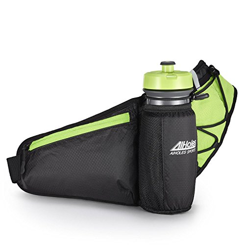 Fanny Pack AIHOLES Waist Pack with Water Bottle Holder Waterproof Running Belt Fits iPhone 7/6S Plus Galaxy S6 S7 Note 6/7 Reflective Water Bottle Pack for Running Hiking Travel Activities-Green (Can Holder Belt compare prices)