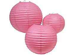 PrettyurParty Pink Round Paper Lamps 14