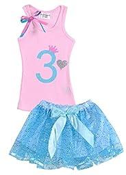 Girls Birthday Party #3 Light Pink Top Baby Blue Tutu Set By Bubblegum Divas