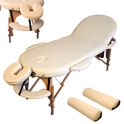 TecTake PORTABLE MASSAGE TABLE OVAL 3-SECTIONS + BAG AND 2 PILLOWS BEIGE