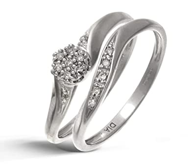 Ariel 9ct White Gold 0.07ct Diamond Bridal Set Cluster Ring