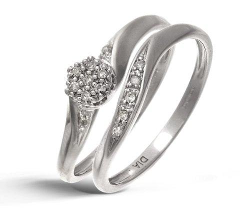 9ct White Gold 0.07ct Diamond Bridal Set Cluster Ring - Size K