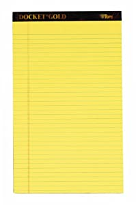 TOPS Docket Gold Writing Tablet, 8-1/2 x 14 Inches, Perforated, Canary, Legal/Wide Rule, 50 Sheets per Pad, 6 Pads per Pack (63986)