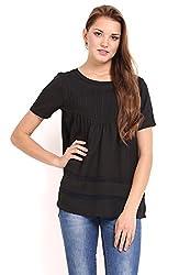 Femenino Black Coloured Pintucks Top