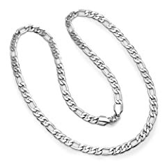 Platinum Plated Mens Figaro Link Hip Hop Necklace (10 MM Width x 30 Inch Length)