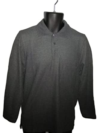 Men's Combed Cotton Long Sleeve Polo Shirt Charcoal