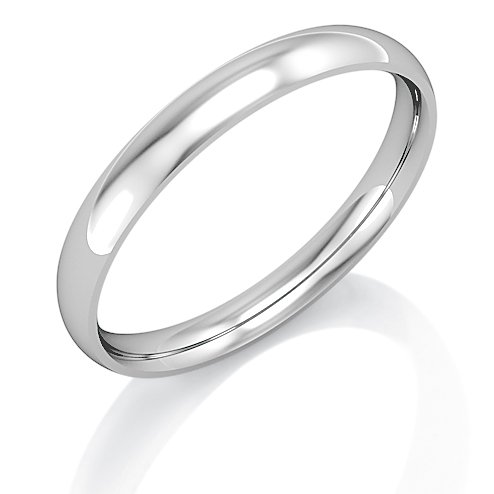 Jewelco London 18ct White Gold - - 2.5mm Essential Light Court-Shaped Band Commitment / Wedding Ring - Size Q