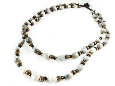Maisha Fair Trade Strand Necklace, Job's Tear and Wood