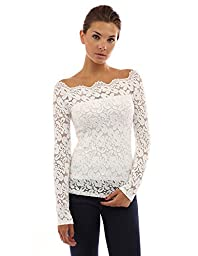 PattyBoutik Women\'s Floral Lace Off Shoulder Top (Off-White L)