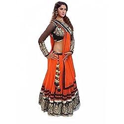 Khazanakart Designer Orange Color Net Fabric Un-stitched Lehenga Choli With Chiffon Dupatta Material.