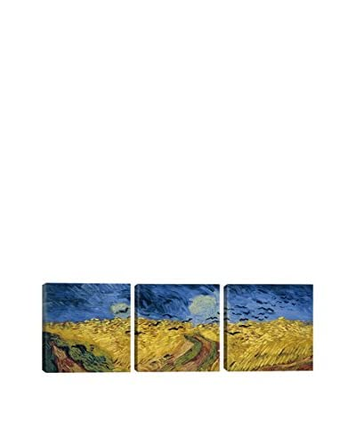 Vincent Van Gogh Wheatfield With Crows (Panoramic) 3-Piece Canvas Print