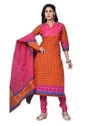 DARPAN TEXTILES Ethnicwear Women's DressMaterial(Orange_Free Size)