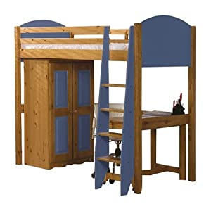 Single High Sleeper Bunk Bed Pieces Included: Bed Frame / Tall Boy / 5 Drawer Chest, Finish: Blue