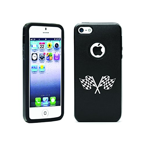 Apple Iphone 5 5S Aluminum & Silicone Case Checkered Flag - Lifetime Warranty (Black)