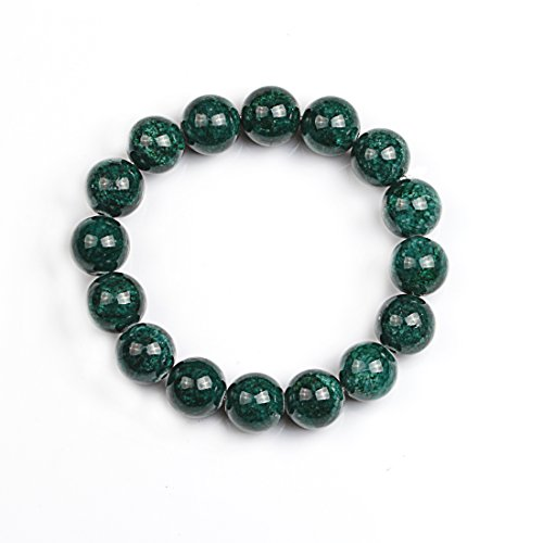 [VK Accessories Unisex Crystal Bracelet Rondelles 12mm Glass Beads Elastic Stretch Bracelet Charm Faceted Nugget Beads Smooth] (70s Jewellery Disco)