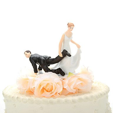 MU Dragging The Groom Wedding Cake Topper