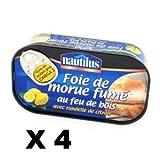 French Smoked cod liver Nautilus-Foie de morue fume- 4 x 121 gr - 10 toasts