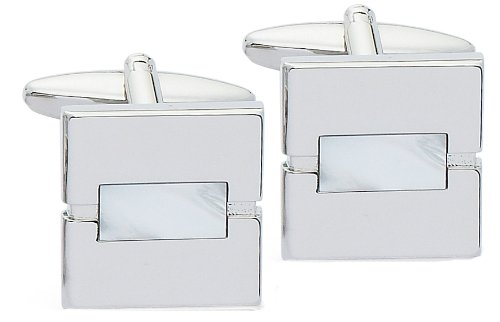 Code Red Base Metal Rhodium Plated with Real Mother-of-Pearl Stones Cufflinks
