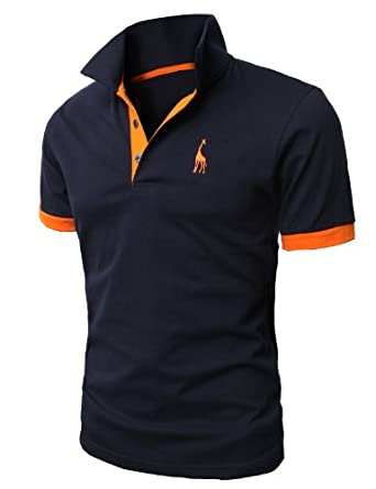 H2H Mens Fine Cotton Giraffe Polo Shirts of Various Colors NAVY Asia M (JDSK36)