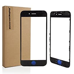 2 pcs/lot Grade A++ iPhone 6 Black Front Outer Glass Lens with Pre-Installed Bezel Frame, Universal Buying(TM) Repair Touch Screen Outer Glass Lens Replacement for iPhone 6