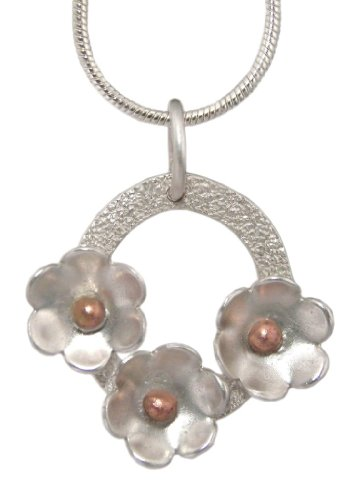 Handmade 925 Sterling Silver and Copper Flowers Posy Ring Pendant FREE Delivery in UK Gift Wrapped