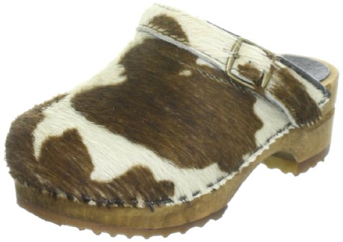 Sanita Wood-Safari FUR open Clogs And Mules Girls Brown Braun (Brown Cow 3) Size: 12.5 (31 EU)