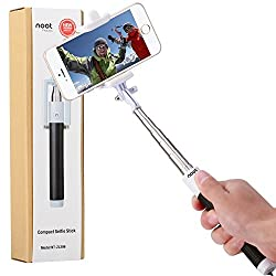 Compact Selfie Stick, NOOT PRODUCTS Compact Series Foldable Portable [Pocket Size] Self-Portrait Monopod Extendable Selfie stick with built-in Bluetooth Remote Shutter for Apple iPhone and Android Smartphone - Black