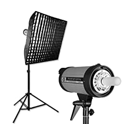 PHOTOGRAPHY STUDIO FLASH STROBE LIGHTING KIT 300 W/S with GRID SOFTBOX by PBL
