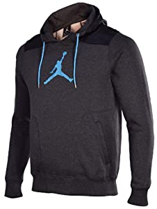 Jordan Men's Nike Classic Fit Jumpman Air Pullover Hoodie-Dark Gray-Small