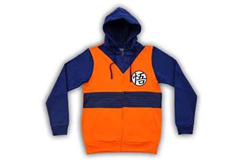 Dragon Ball Z Goku Symbol Orange Costume Adult Zip Up Hoodie Sweatshirt (X-Large)