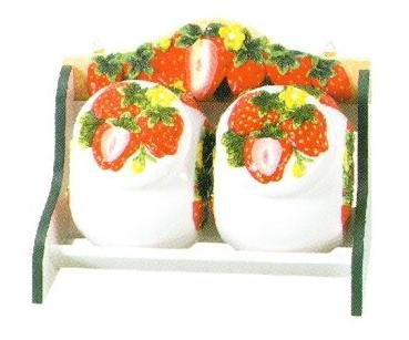 STRAWBERRY 3-Dimensional STORAGE JARS & WOOD SHELF Rack NEW