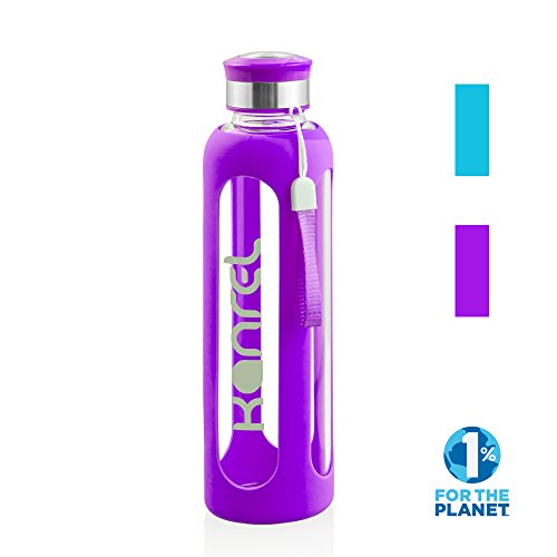 32 Ounce Glass Water Bottle by Kanrel Purple 32 oz Large BPA