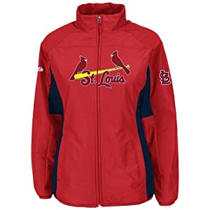St. Louis Cardinals Red Ladies Authentic Double Climate On-Field Jacket by Majestic by Majestic