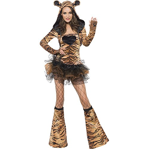 Sexy Tiger Kostüm braun-schwarz L 44/46 Tigerkostüm Tigerlady Damenkostüm Plüsch Tierkostüm Dreamgirlz Zoo Frauenkostüm