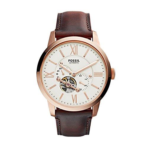 Fossil ME3105 - Reloj automático con correa de cuero para hombre, color blanco / marrón