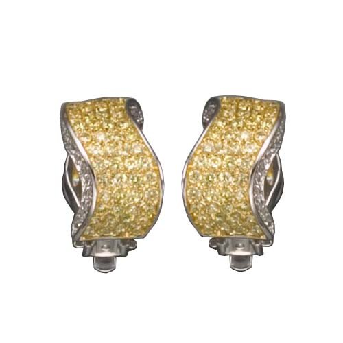 C.Z. AND YELLOW CLIP POST RHODIUM PLATED (.925) STERLING SILVER EARRINGS