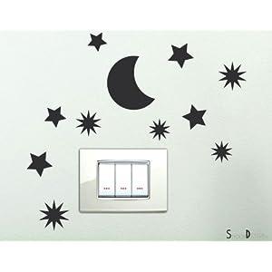 Adesivi per interruttore spine placche Adesivo Stelline con Luna Wall Stickers decorativo Adesivi Murali Decorazione Cameretta   Valutazioni Valutazione