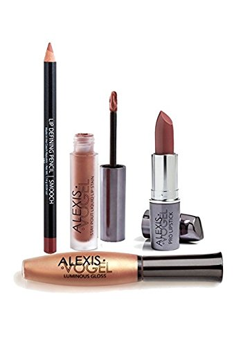 Best Complete Lip Makeup Kit - Alexis Vogel Lip Transformation Kit - Includes Lip Stain, Lip Gloss, Lipstick, and Lip Liner Pencil - Long Lasting Colors - Create Lip Plumper Look, Moisturize Lips, Colors for Any Occasion - Created by Celebrity Makeup Artist by Alexis Vogel