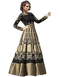 Designer Latest Cream & B Bhagalpuri Digital Print Semi Stitched Gown