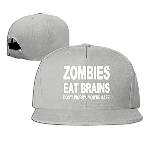 Zombies Eat Brains So Don't Worry You're Safe Design Baseball Snapback Cap Ash