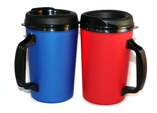 2 Thermoserv Foam Insulated Coffee Mug 20 Oz W/Lids (1)Blue & (1)Red