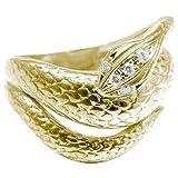 Atrus【アトラス工房】スネークリング ダイヤモンドリング イエローゴールドK18 K18 蛇 リング 指輪 ヘビ 9号