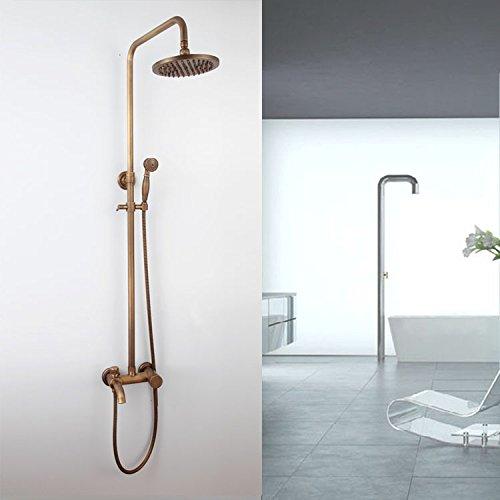 CAC Antiquariato retrò continentale Bagno doccia set rubinetto di bronzo di rame con doccia a pioggia soffione doccia