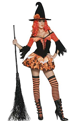 Lover-baby® Wicked Women Orange and Black Cosplay Witch Outfit Halloween Costume