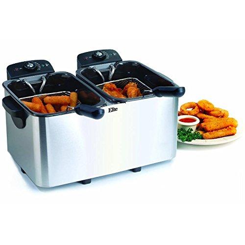 Maxi Matic Elite Platinum Dual Deep Fryer, 2 x 4 qt, White (2 Compartment Deep Fryer compare prices)
